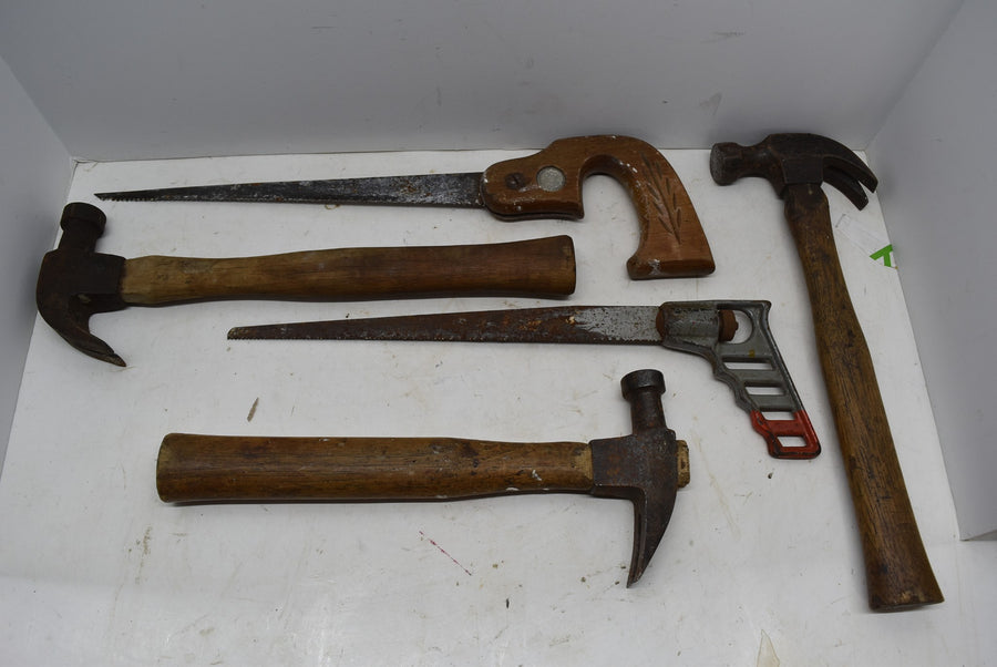 Lot of Vintage Antique Tools Keyhole Saw Claw Hammer Wooden Handle Metal Wheat