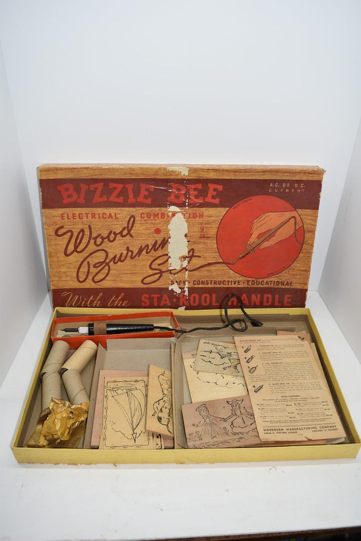 War Bond Advertisement Wood Burning Set Bizzie Bee Vintage Collectible Toys WW1