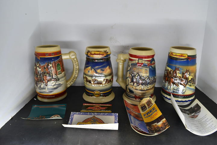 Lot of 4 Budweiser Holiday Steins 1999 2000 2001 2002 COA Collectible Man Cave
