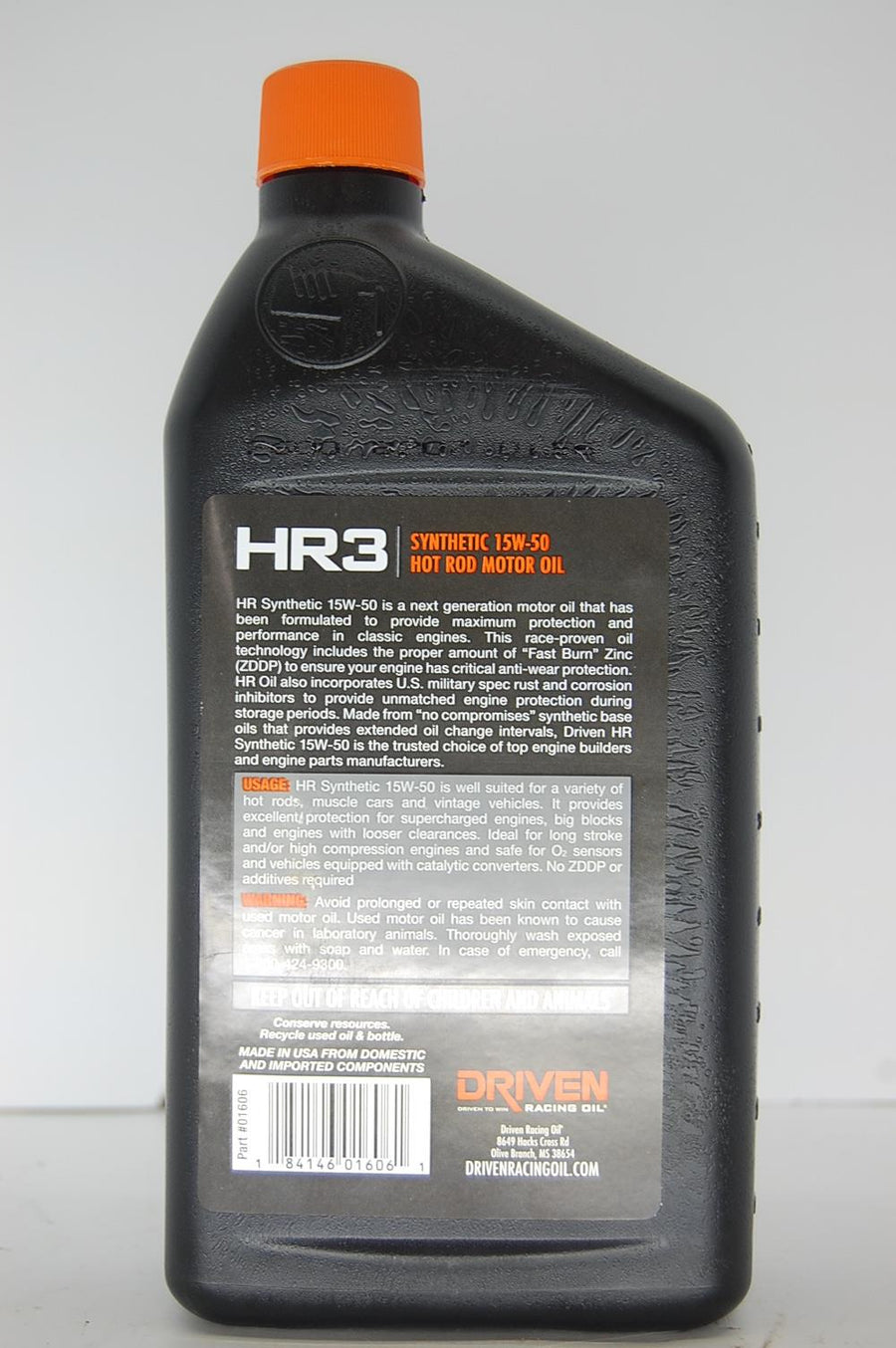 Driven HR3 Synthetic 15W-50 Hot Rod Motor Racing Oil 1 Quart