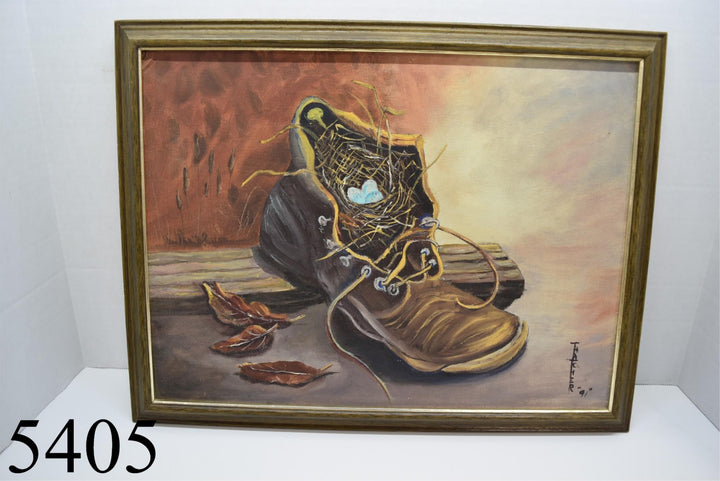 Robin Nest Eggs Boot Painting Decor Vintage Artist Hand Painted Signed Nature