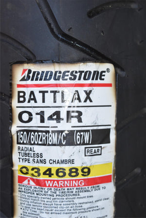 Bridgestone Battlax BT014R Rear Tire 150/60 Radial Tubeless Brand New With Tag