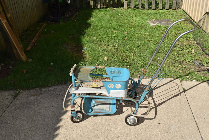 Taylor Tot Murray Go Round Vintage Stroller Blue Metal Wood With Foot Rest 1940s
