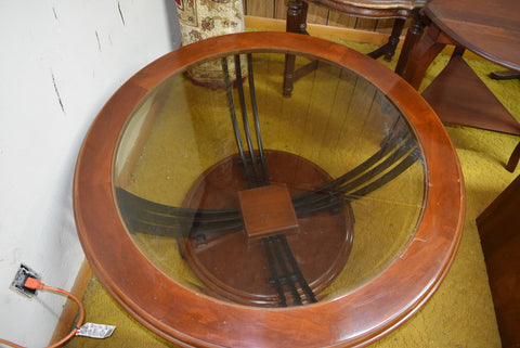 Round Wooden Coffee Table with Glass Insert Furniture Vintage Decor