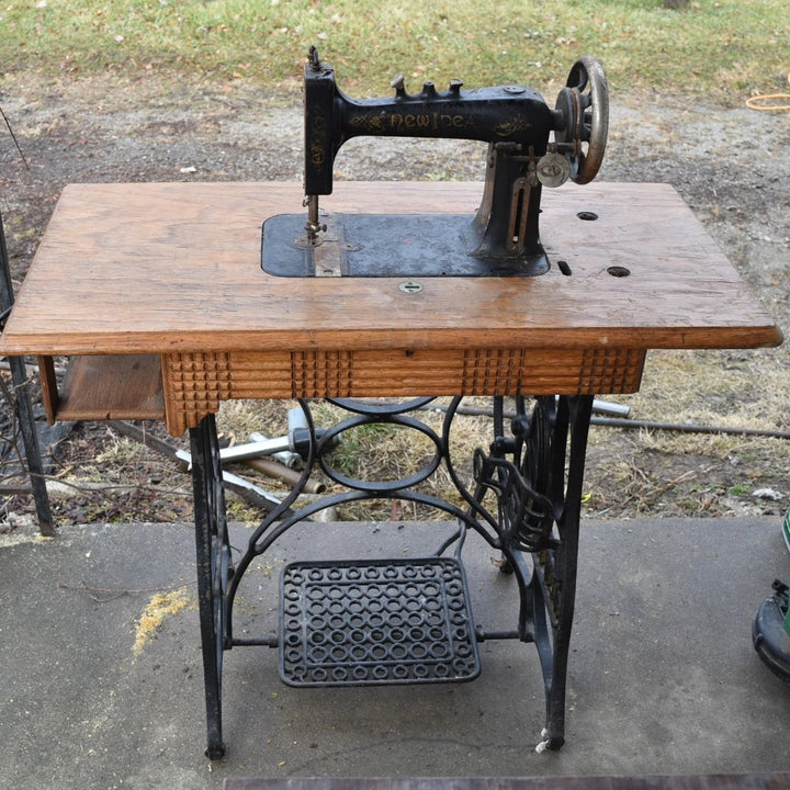 Antique New Home New Ideal Sewing Machine and sewing table