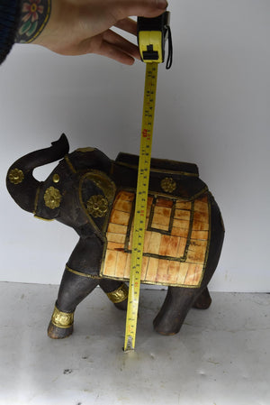 India Solid Wood Carved Elephant Bone Inlay Hammered Brass Statue Boho Decor