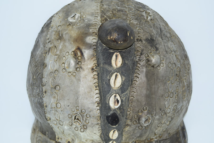 Large Decorative Ghanaian Mask Solid Carved Wood Hammered Tin Seashell Inlay Art