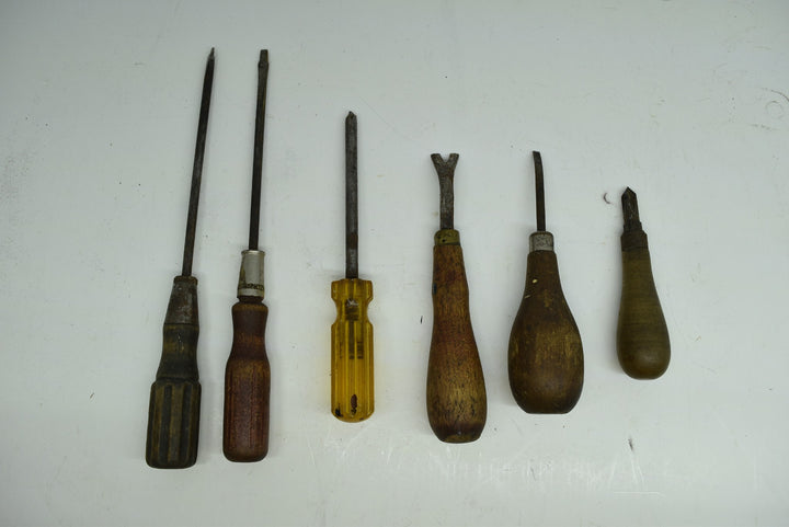 Lot of Vintage Antique Screwdrivers Bridge Phillips Yankee North Bros R&P Wooden