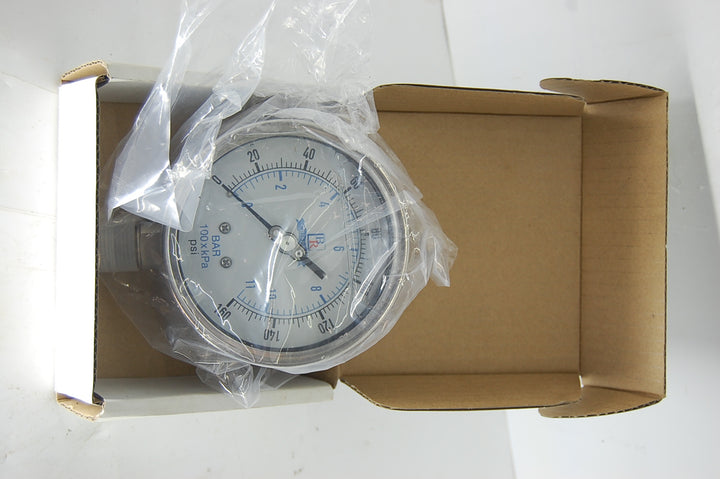 "Blue Ribbon brand 160 PSI 4"" liquid filled all stainless steel pressure gauge with 1/2"" NPT lower mount connection"