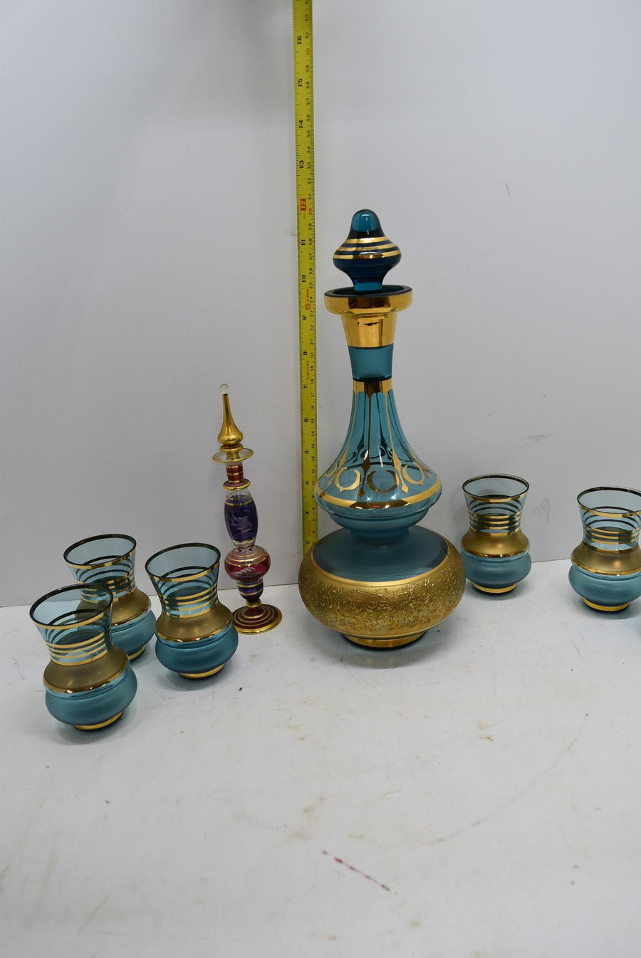Vintage Gold Gilt Decanters with 6 Matching Shot Glasses Bohemian Glass Decor