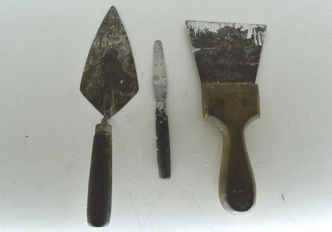 Lot of 3 Vintage Concrete Cement Trowels Wooden Handle Tools Made in USA