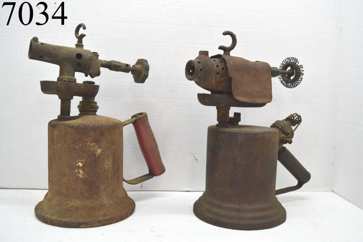 Lot of 2 Vintage Antique Blow Torch Gasoline Brass Copper Tools Garage Man Cave