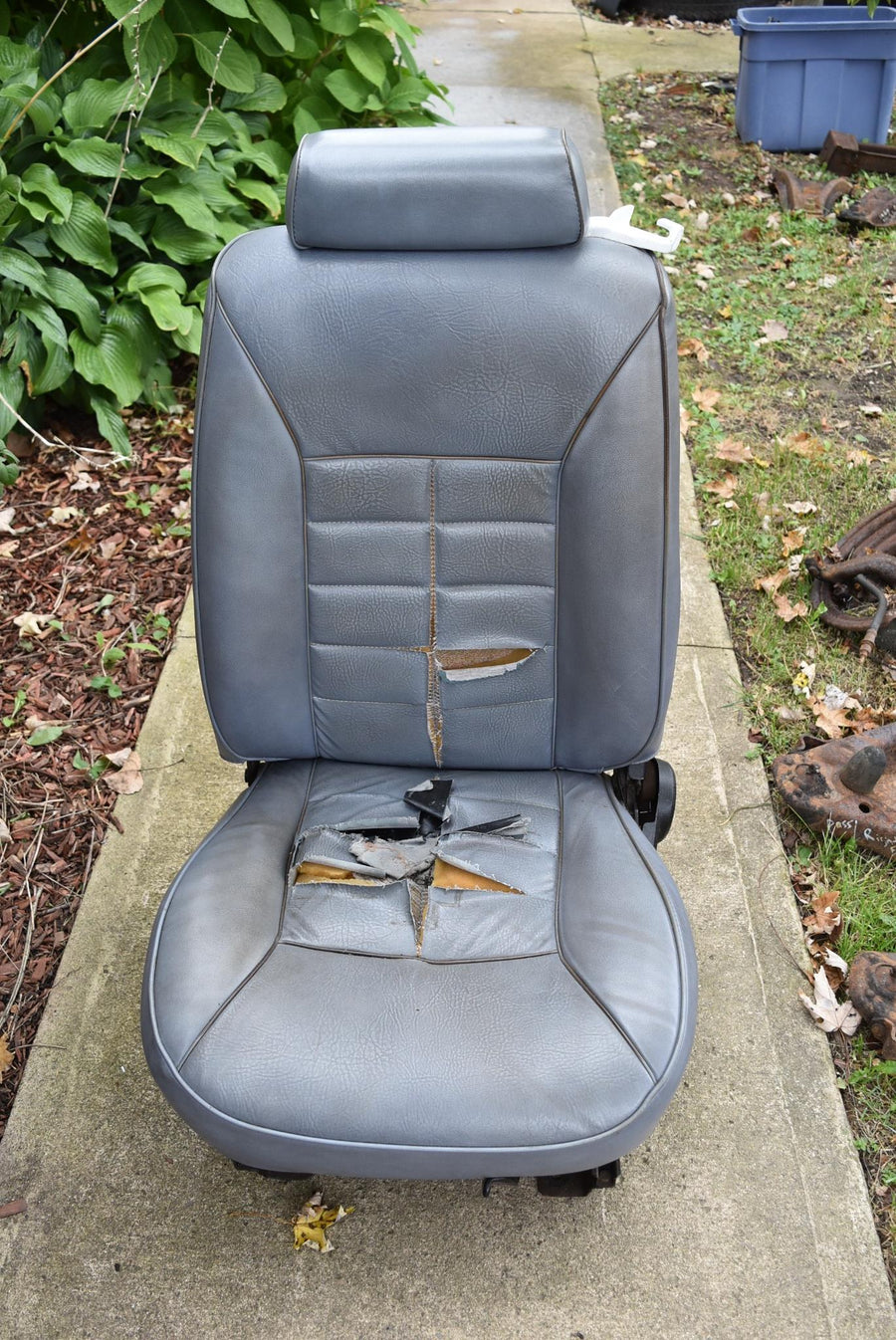 1983-1986 Ford Mustang Front LH Bucket Seat Blue Vinyl OEM Original Blue