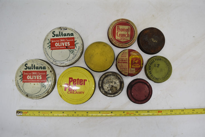 Vintage Collectible Antique Jar Lids Old Ball Kraft Ann Page Peter Pan Sultana