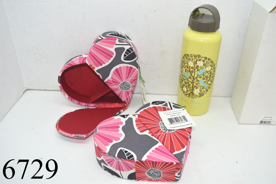 Lot of 3 Vera Bradley New With Tags Water Bottle Heart Shaped Jewelry Box Cases