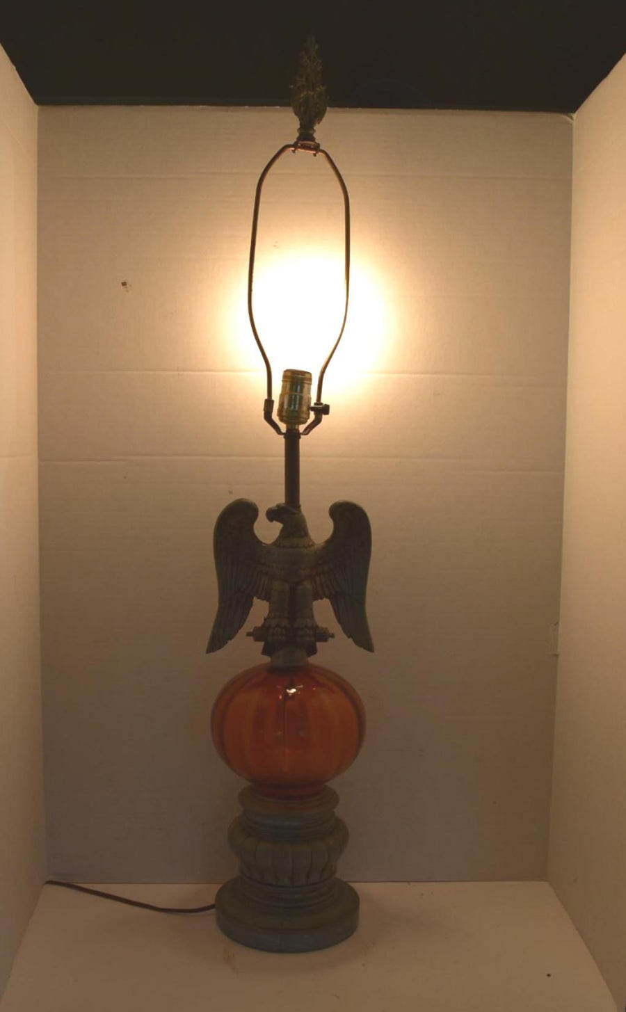 Vintage Metal Eagle Amber Glass Lamp HUGE Tested Working Collectible Decor
