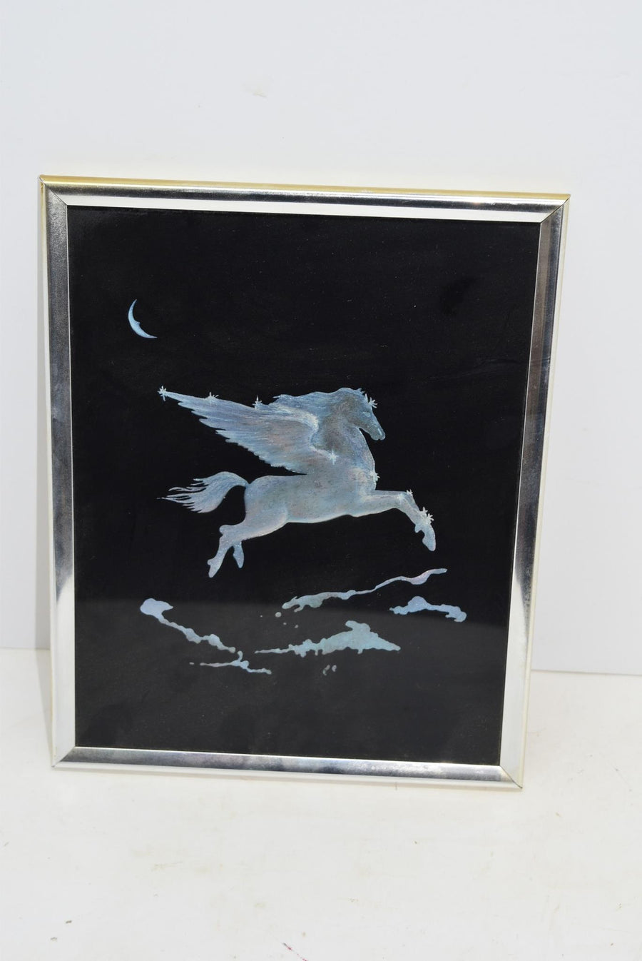 Kafka Foil Artwork 1985 Vintage Decor Pegasus Unique Silver Frame She Shed