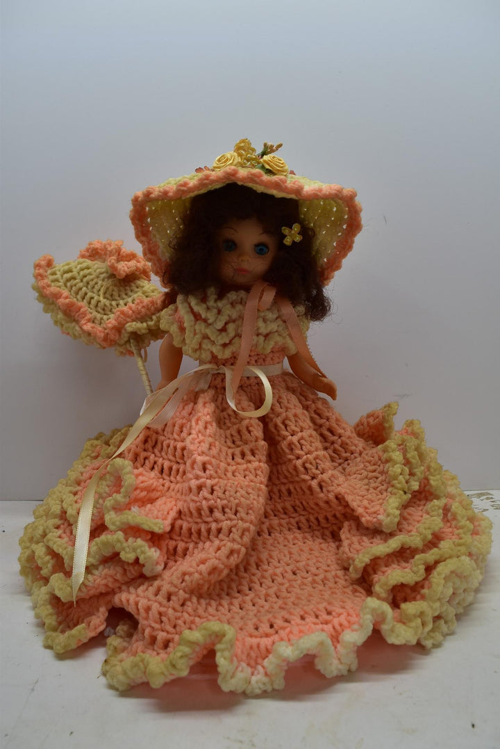 Vintage Fibre Craft Doll Handmade Crochet Dress Fibrecraft Pillow Toys