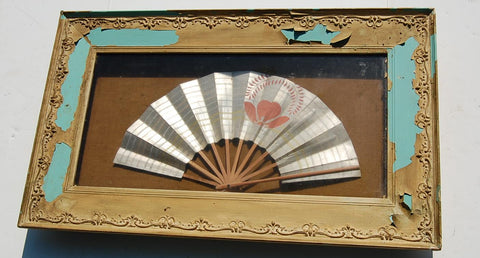 Vintage Fan Framed Shadowbox Asian Chinese Wall Decor Antique SheShed