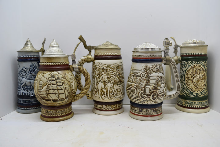 Lot of 5 Avon Steins Vintage Collectibles 1976-1980 Made in Brazil 1980 1979