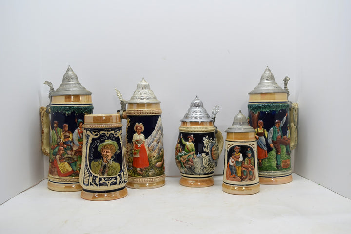 Lot of 6 Vintage Antique Steins Made In Germany Gerz Collectible Man Cave