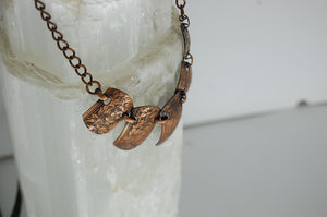 "Handmade Navajo-Style Stamped Floral Copper Necklace with 16"" Chain"