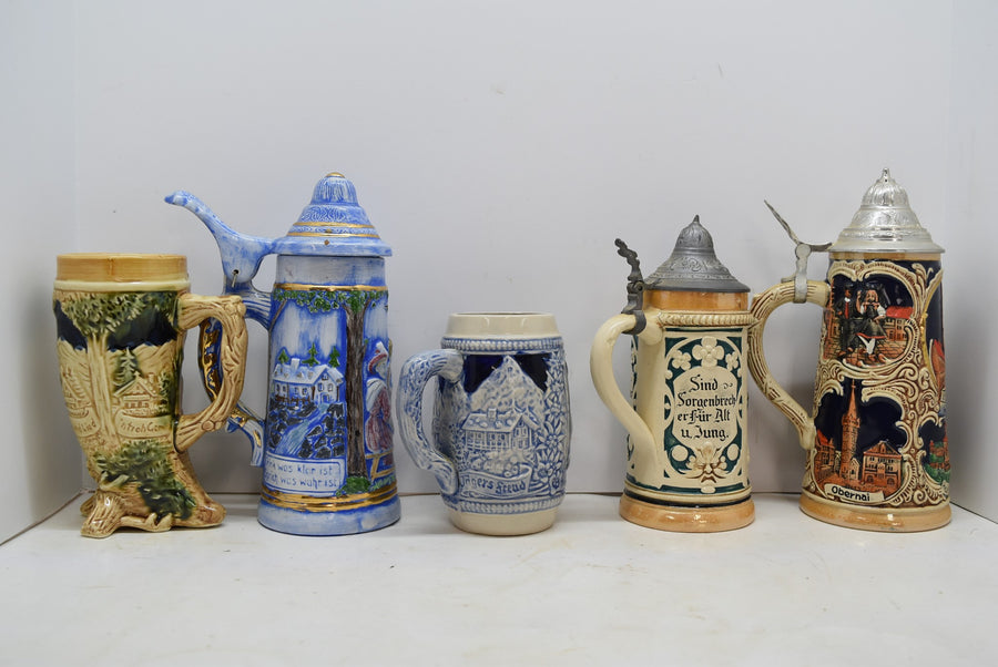Lot of 5 Vintage Antique Steins Made In Germany Horn Collectible Man Cave