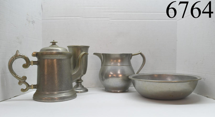 Lot of 4 Wilton Columbia Pewter Kettle Pitcher Bowl Goblet Vintage Metalware Old