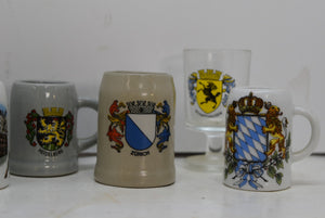 Lot of 8 Mini Steins German Collectibles Drink Ware Man Cave Beer Mug Shot Glass