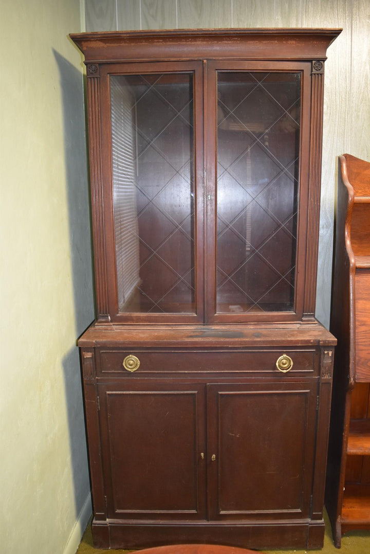 Antique Curio Cabinet Solid Wood Vintage Furniture Missing Shelves
