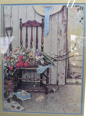 Norman Rockwell Chair Print Vintage Home Decor Painting She Shed Framed Art