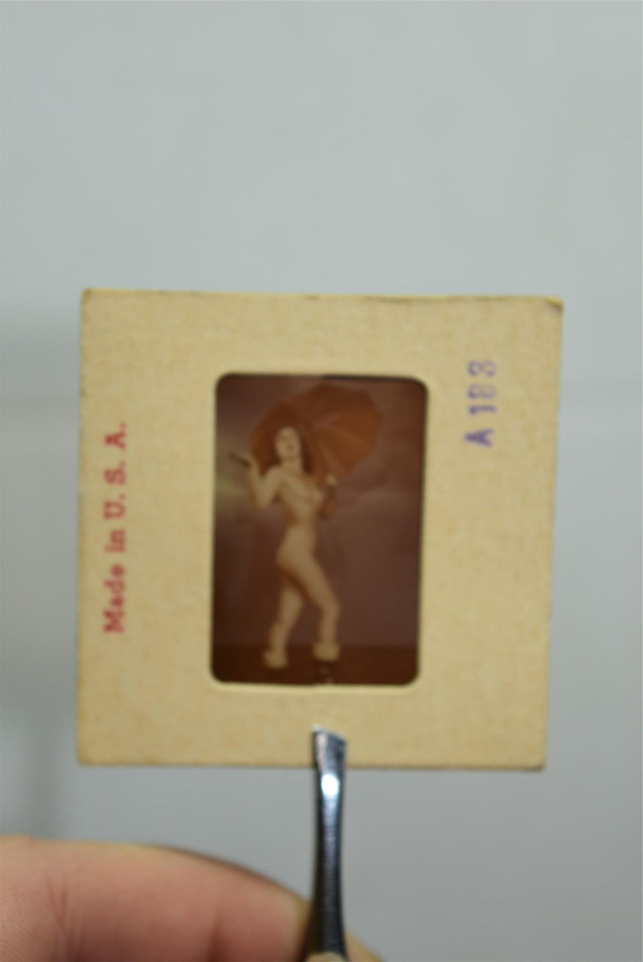 Naked Pinup Transparent Mail Order Slide 1950s Burlesque Girl Negative Umbrella