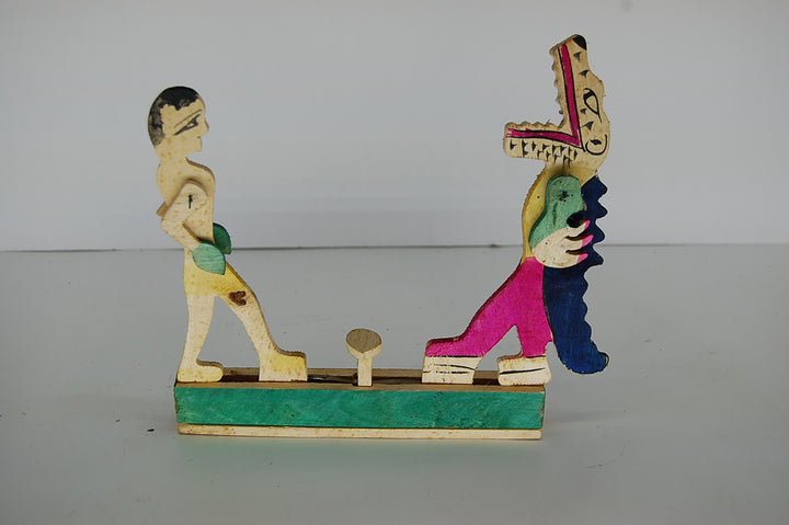 Vintage Wooden Boxing Game Mexican Antique Collectible Boxers Toys