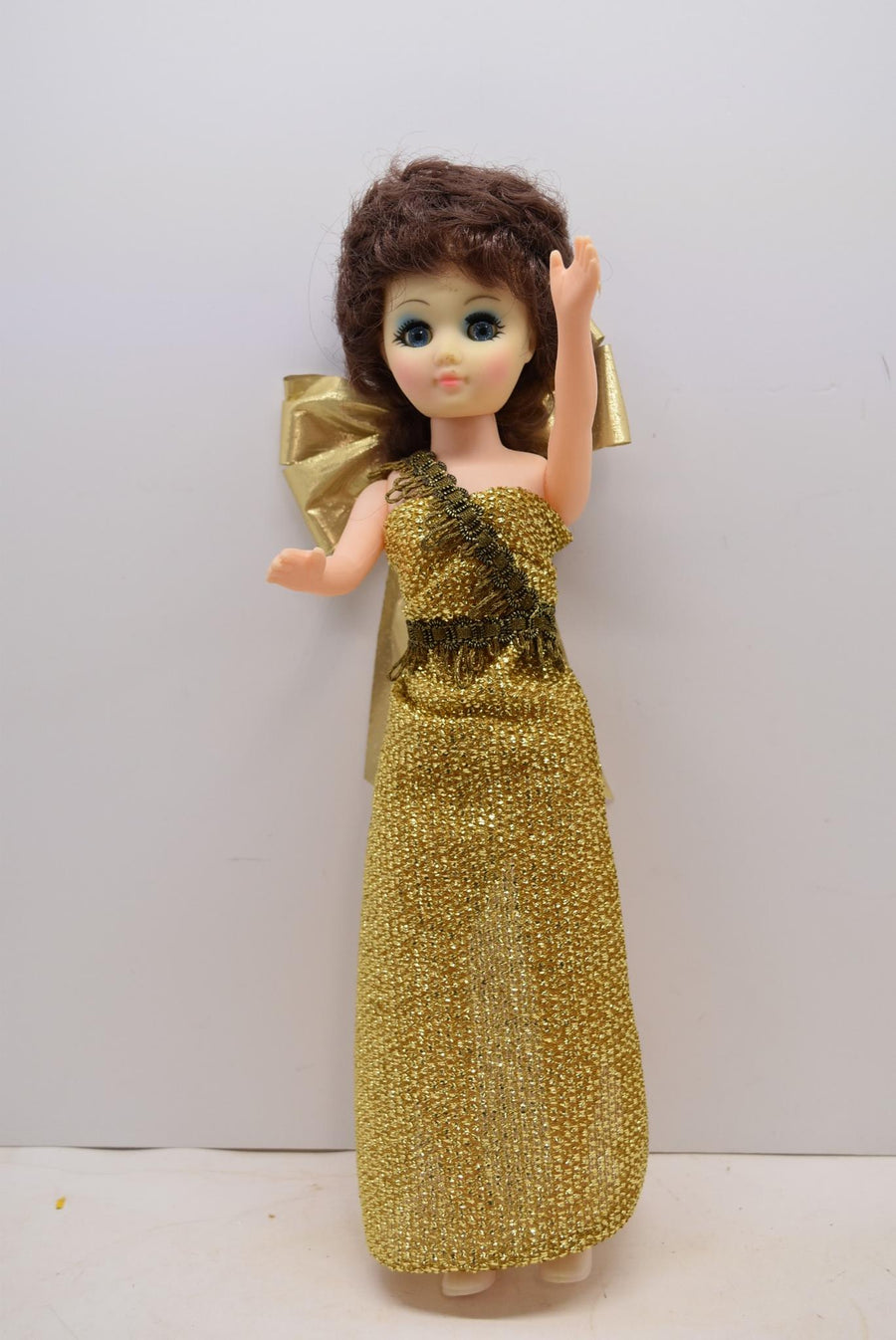 Adorable Vintage Doll Gold Dress Blinking Eyes Toys She Shed