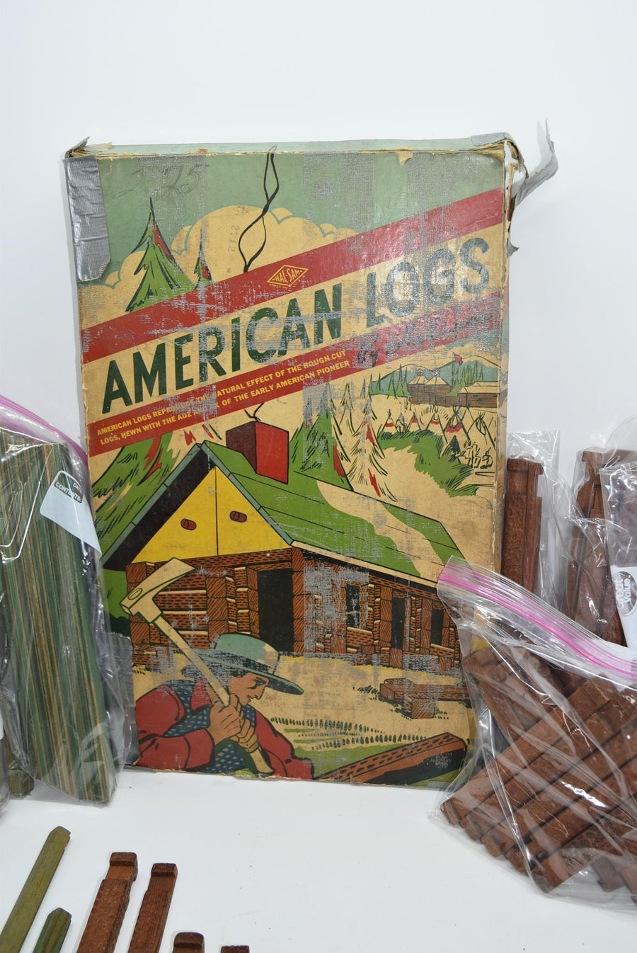 Vintage Halsam American Logs With Original Box Toys Lincoln Logs HUGE COLLECTION