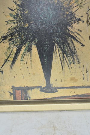 Bernard Buffet Vase Bouquet Painting On Board Framed 1965 Signed Lithograph Art