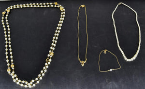 Lot of Vintage Costume Jewelry Marked 1928 Pearls Necklace Bracelet Japan