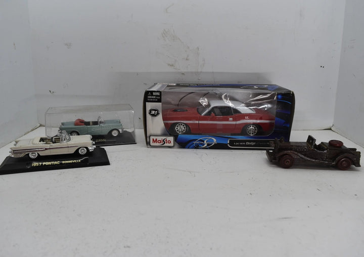 Lot of 3 diecast model cars plus one wooden collectors car