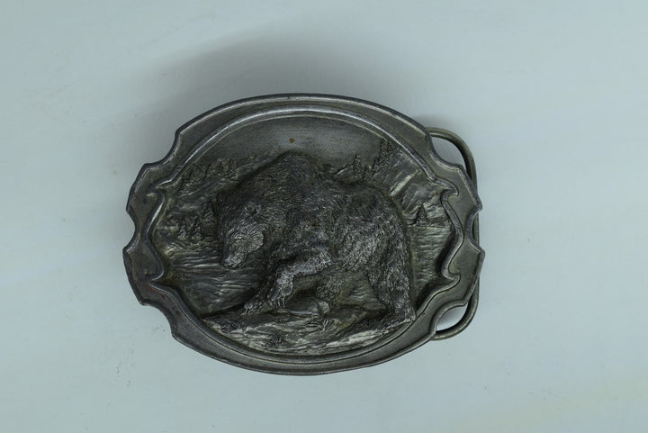 Grizzly Bear Belt Buckle Siskiyou Williams Oregon 1984 Vintage Pewter Metal