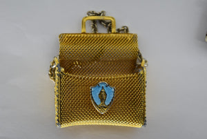 Czechoslovakia Rosary Glass Case Box Beads Mesh Purse Bag Mini Czech Vintage