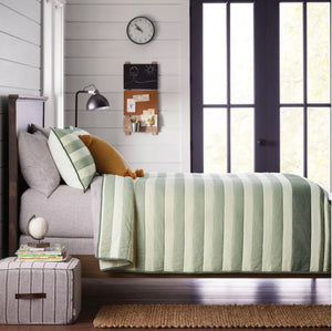 Stripe Quilt Green Hearth & Hand Magnolia Twin NEW Target Kids Comforter Bedding