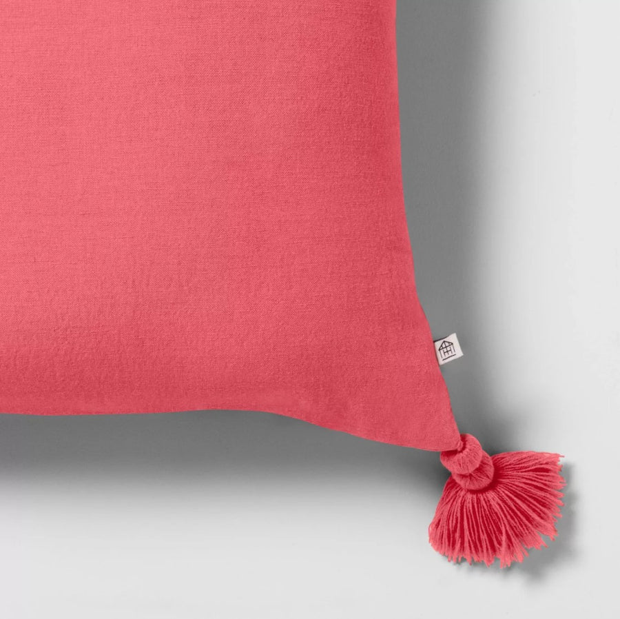 Set of 2 Magenta Throw Pillow W/ Tassels Hearth & Hand Magnolia Pink New In Box