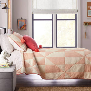 Pink Triangle Modern Quilt Hearth & Hand Magnolia Kids Bedding Twin NEW Target