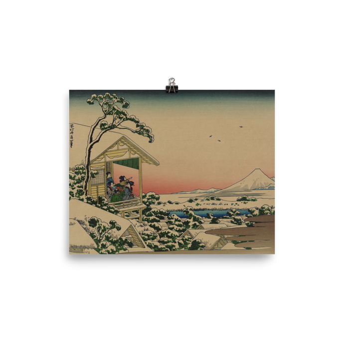 Hokusai Poster - Teahouse at Koishikawa the Morning After a Snowfall