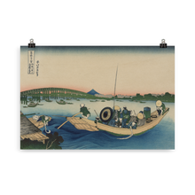 Load image into Gallery viewer, Hokusai Poster - Sunset Across the Ryōgoku Bridge