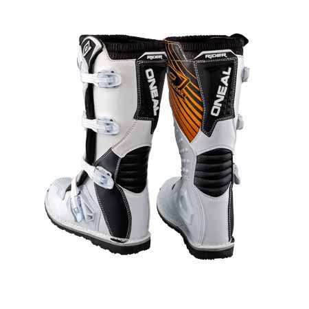ON-0324-2xx - Oneal Rider offroad/dirt boots in white - available in peewee, youth and adult sizing