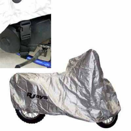 Rjays Motorcycle/Scooter Unlined Cover is available in four sizes (large, with or without rack, extra large and all scooters)