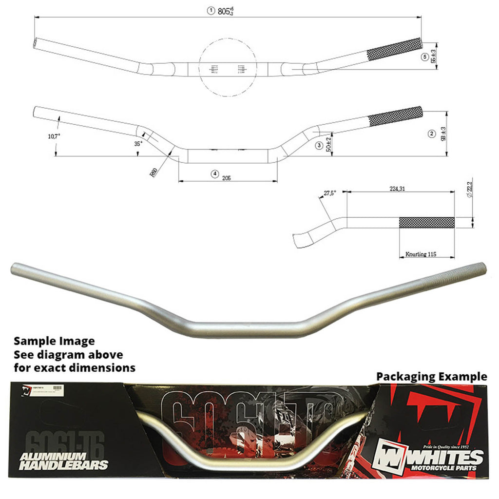 WHITES HANDLEBARS ALLOY 6061 TAPER 1 1/8 (28.6MM)KXF/RMZ SIL