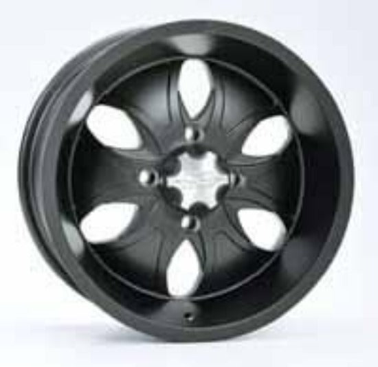 ITP System Six in black. Also available is interchangeable coloured aluminium wheel spoke inserts in red, blue or polished so you can match your wheel specifically to your ATV or UTV
