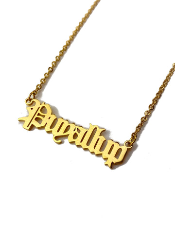 """Puyallup"" Old English Gold Necklace"